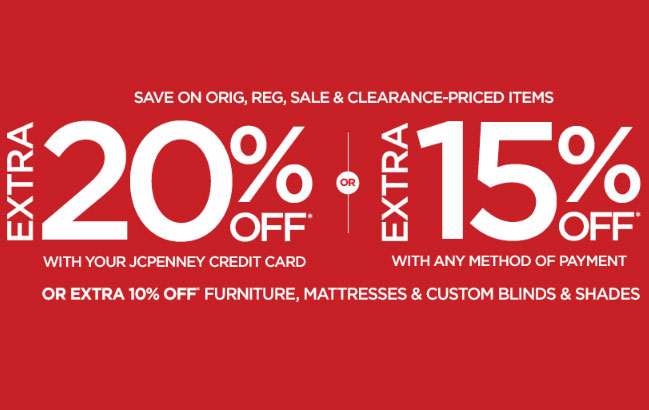 jcpenney coupon codes 20% off